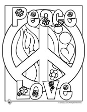 Peace-Love-and-Flower-Coloring-Pages